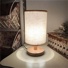 Wooden USB Powered Table Lamp Table Lamp Wood, Bedside Table Lamps, Home Lighting Design, Interior Lighting, Light Table, Lamp Light, Table Lighting, Bedroom Night Light, Room Lights