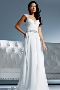 Chiffon gown with jeweled capped sleeves, belt, and neckline. This  Grecian silhouette features a beaded sheer illusion back with crystal  button closures.