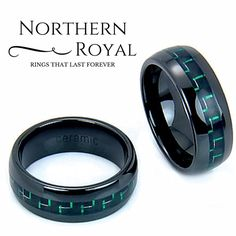 I love this black ceramic ring with a green carbon fiber inlay. This makes one unique mens wedding band.