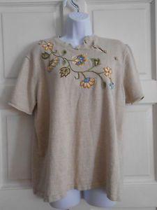 womans top shirt knit sz 1x work office casual talbots