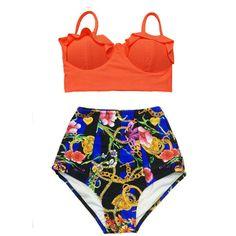 Orange Midkini Top and Graphic Art High Waisted Waist Cut Rise Bottom... ($40) ❤ liked on Polyvore featuring swimwear, bikinis, black, women's clothing, retro bikini, swimsuits bikinis, high-waisted bikinis, retro swimsuit and retro high waisted swimsuits