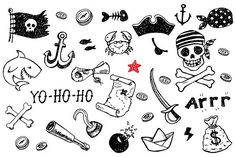 Pirate doodles set +8patterns by Hala on @creativemarket