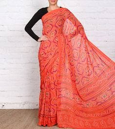 Peach Bandhani Viscose Saree