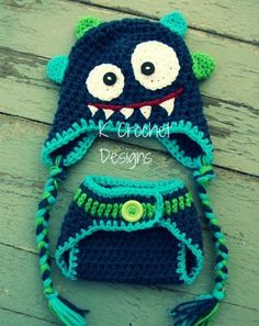 Crochet baby hat/Crochet diaper cover- Monster hat and diaper cover set/Photography prop- Choose your colors- newborn to 12 months. $30.00, via Etsy.