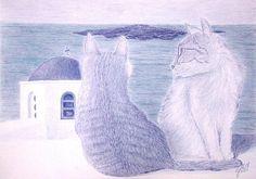 Pintura original de gatinhos em Santorini. Lápis colorido em dois tons de azul. Kitties in Santorini Colored pencils in two hues of blue.
