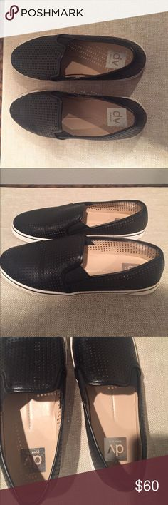 DV Dolce Vita black loafer/sneakers, size 8 Excellent condition.  Only worn outside once.  Loafer style sneaker with black hole mesh pattern.  Size 8 Dolce Vita Shoes Sneakers