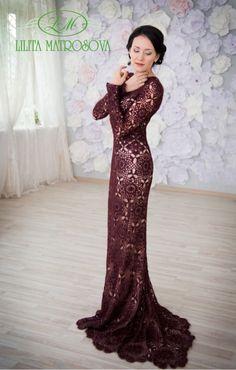 """Купить """"Премьера"""" - вязаное платье, вечернее платье в пол, платье со шлейфом, длинное платье"""