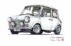 Mini Cooper S, Classic Mini, Classic Cars, Mini Morris, Cars Characters, Pen And Watercolor, Car Drawings, Automotive Art, Manga Illustration