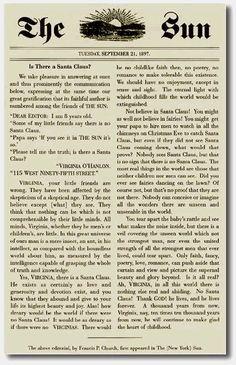 El mejor editorial de la historia. La respuesta a Virginia sobre la existencia o no de Santa Claus. Una joya
