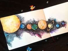 ☄️ - Everything About Painting Cute Drawings Tumblr, Cool Art Drawings, Drawing Ideas, Galaxy Painting, Galaxy Art, Art Journal Inspiration, Art Inspo, Painting Inspiration, Gouache Painting