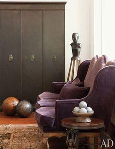 Victorian wingback settee & 18th c. Italian santo figure in the home of Ellen DeGeneres and Portia de Rossi | Buff & Hensman, Melinda Ritz | Architectural Digest...
