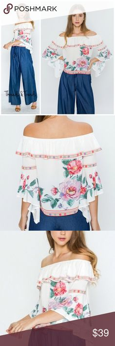 Emma Off Shoulder Blouse Catch the trend this season with this stunning off shoulder blouse featuring cascading bell sleeves, ruffle and floral print. Made of rayon/poly blend. Pair with jeans or dress it up for a special occasion. Size S, M, L. Price is firm unless bundled.                                                                                Small  Bust 42 Length 19  Medium  Bust 44 Length 19  Large  Bust 46 Length 19 Threads & Trends Tops