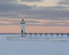 Manistee Lighthouse In Winter