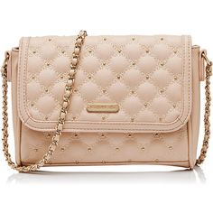 Forever New Narietta Small Bag ($21) ❤ liked on Polyvore featuring bags, handbags, nude, pink bag, pink quilted bag, studded handbags, studded bag and forever new