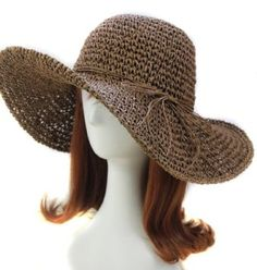 Chic Ladies Straw Sun Visor Wide Large Brim Floppy Fold Swimming Beach Straw Hat for sale online Crochet Summer Hats, Crochet Hats, Sombrero A Crochet, Floppy Straw Hat, Straw Hats, Wide Brim Sun Hat, Sun Hats For Women, Women Hat, Derby Hats