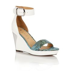 c4d2ac4e38a Ravel White snake  Texas  ladies wedge sandals