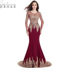 Real Image Cheap Burgundy Long Sleeve Mermaid Lace Prom Dresses 2017 Sexy Sheer Back Evening Par ...