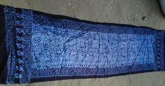 Batik hand block printed silk stole