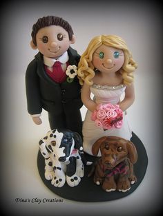 Wedding Cake Topper ~ Bride and Groom with two Dogs by Trina's Clay Creations