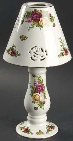 Candle Lamp With Shade in the Old Country Roses pattern by Royal Albert China
