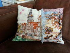 Kussen gemaakt van oude borduurwerken. Tea Towels, Om, Cross Stitch, Throw Pillows, Embroidery, Creative, Color, Dish Towels, Punto De Cruz