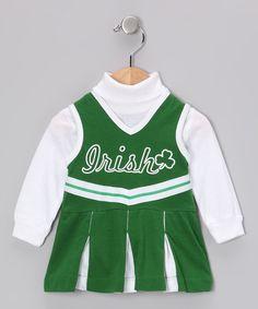 Look at this #zulilyfind! ishopirish Kelly & White 'Irish' Cheer Dress - Infant & Toddler by ishopirish #zulilyfinds