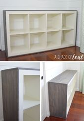 """How to add Wood to a IKEA Expedit Cube Shelf - - Want to update your IKEA Expedit or Kallax Bookshelf? Then this is an easy tutorial for you. I added wood to my shelf to give it that little bit of an extra rustic look for my """"Rustic Glam Nu…. Cube Storage Bench, Cube Shelves, Ikea Kallax Regal, Ikea Expedit, Ikea Furniture Hacks, Furniture Projects, Furniture Storage, Ikea Hacks, Diy Hacks"""