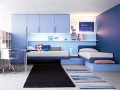 Chambre d'ado bleu et moderne