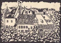 Linoldruck AK Schloß - J. Maßfeller 1971 - Druck R. Winters - JMW