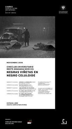 """Segunda parte del ciclo """"Cineclub Universitario meets Granada Noir (II)"""" titulado """"Negras viñetas en negro celuloide"""".  #CineClubUGR #GranadaNoir #NegrasViñetas #NegroCeluloide"""