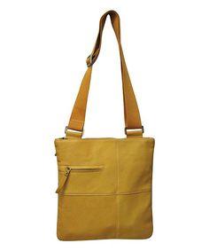 Yellow Slim Leather Crossbody Bag