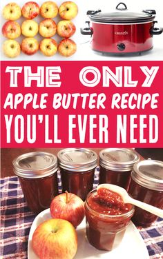 Apple Butter Recipe - Crockpot Easy Fall Recipes!  This dreamy, creamy Crockpot Apple Butter Recipe is loaded with fresh sweet apples and cozy spices! Plus, it makes the perfect addition to your slice of toast, stack of pancakes, or warm biscuit!  Just 6 ingredients and you're done!  Go grab the recipe and give it a try this week! Delicious Crockpot Recipes, Slow Cooker Recipes, Apple Recipes, Fall Recipes, Homemade Applesauce, Spiced Apples, Apple Butter, Crock Pot Cooking, Butter Recipe