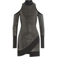 David Koma Embellished Mini Dress (17,660 BOB) ❤ liked on Polyvore featuring dresses, black, short fitted dresses, cold shoulder dress, fitted turtleneck, fitted dresses and mini dress