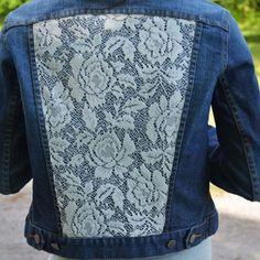 Shop Denim Jacket With Lace on Wanelo