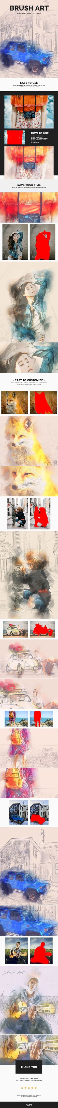 Brush Art Photoshop Action - Photo Effects Actions