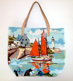 tote made from needlepoint - canevas.