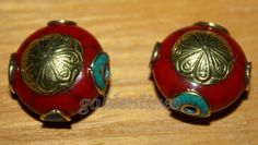 Tibetan Nepalese Handmade Turquoise Coral Resin by goldenlines
