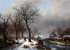Frederik Marinus Kruseman (1817-1882) : Frederik Marinus Kruseman (1817-1882)  oil on wooden panel,  Travellers in a winter landscape,  signed,