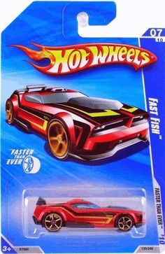 2010 Hot Wheels Faster Than Ever '10 Red FAST FISH, 135/240 7/10 by Mattel. $4.89. red Fast Fish with striping detail and gold spokes and rims. Hot Wheels 2010 Faster Than Ever series. 1/64 scale, die cast metal and plastic parts. #07 of 10, #135 of 240. Red body with black and yellow striping on sides and hood. Black spoiler and base. Gold colored spokes and rims.