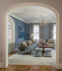 Beacon Hill Family Room with Arched Doorway and Swedish Chandelier  Living  Family Room  Architectural Detail  Architectural Details  TraditionalNeoclassical by Kristin Paton Interiors