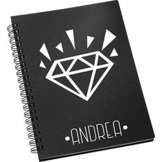 Libreta negra de diamante. Personalizada.