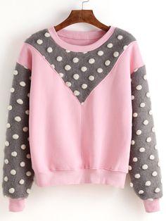 Pink Round Neck Polka Dot Splicing Sweatshirt 19.00