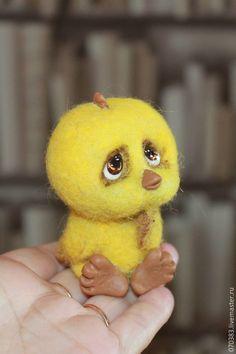 Купить Цыпа - желтый, цыпленок, цыплята, цыплёнок, цыпа, валяная игрушка, игрушка из шерсти, шерсть