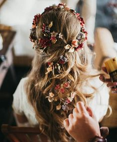 Beautiful flower half up half down hairstyle for wedding