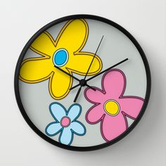 Flower Power 1 Wall Clock by Chris Mccormick - $30.00