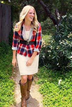 lace skirt plaid shirt & knee high boots