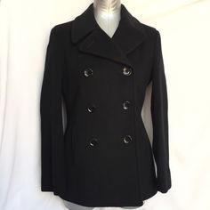 "Calvin Klein Pea Coat Black wool/nylon/recycled cashmere Calvin Klein pea coat. Bust = 20"", Arm length = 24"", Coat length = 27 1/2"". In excellent condition, worn a few times. Non-smoking, no pet home. Calvin Klein Jackets & Coats Pea Coats"