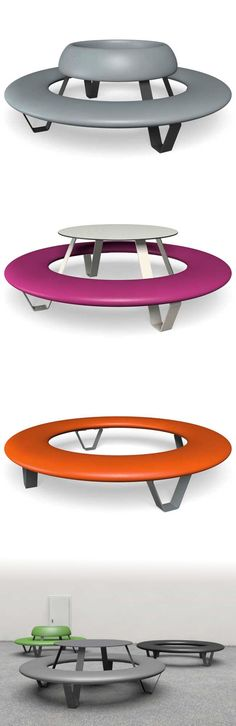 Round and spacy and available in different shapes and colours - our big BUDDY Round Picnic Table, Street Furniture, Colours, Shapes, Big, School, Benches, Schools