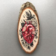 Wood slice with an original drawing of an van Inkspirednl op Etsy