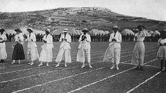 Ladies race at Għajn Tuffieħa, Malta. Farmers have now re-claimed to land. Credit: The Empire Studio. Malta Valletta, World War I, Malta Mellieha, Vintage Ladies, Empire, 100 Yards, Racing, History, Studio
